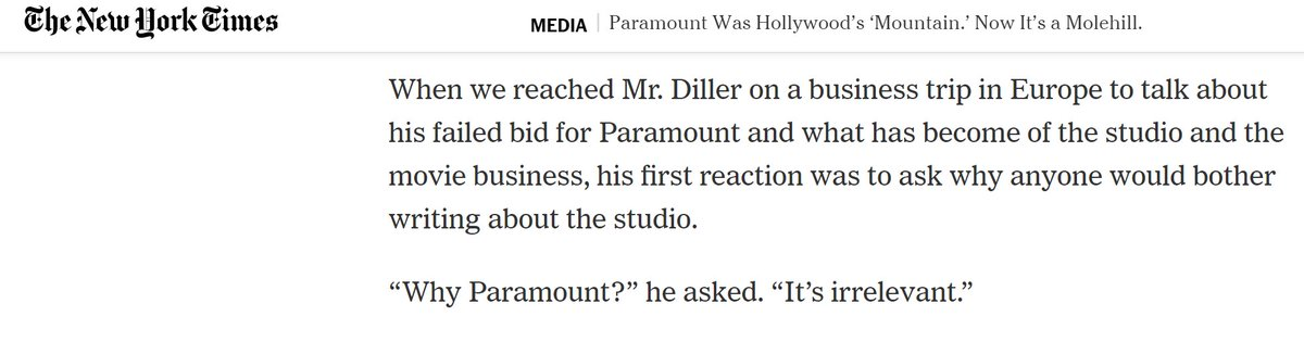No one does a drive by like Barry Diller.  Note: Diller once ran Paramount and later tried to buy it.(https://www.nytimes.com/2019/01/17/business/media/paramount-pictures.html?curator=MediaREDEF …)