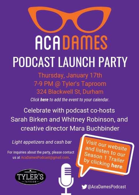 Is being a woman in academia a dream, game, or scam? Come out to Tyler's Taproom in Durham TONIGHT from 7-9 to celebrate the launch of UNC Gillings Profs. Sarah Birken and Whitney Robinson's new podcast @AcaDamesPodcast which explores just that. https://t.co/IoQTt78VAZ