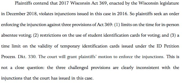 Breaking: federal court blocks cutbacks to early voting passed by lame duck Wisconsin GOP legislature, says violate earlier court order prohibiting early voting cuts  https:// big.assets.huffingtonpost.com/athena/files/2 019/01/17/5c40daede4b0a8dbe16ef1bd.pdf &nbsp; …  h/t @srl<br>http://pic.twitter.com/MdIyXiX2Kw