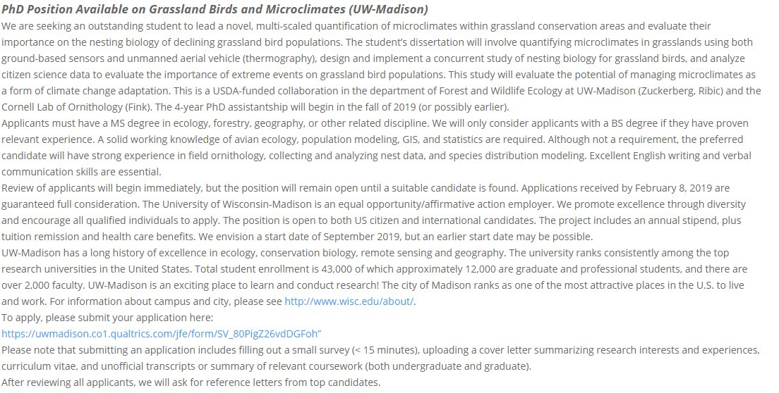 Please RT!   I&#39;m recruiting a PhD student to join a project studying grassland birds and microclimate in my lab in the Department of Forest and Wildlife Ecology at University of Wisconsin-Madison. Start date in Fall 2019. #ZuckerbergLab #ecology  Details:  https:// bit.ly/2Qbe1wQ  &nbsp;  <br>http://pic.twitter.com/EkzhL39Zgf