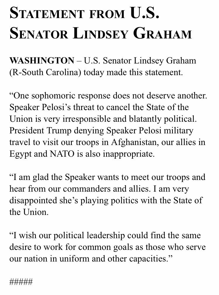 ".@LindseyGrahamSC: ""One sophomoric response does not deserve another."""