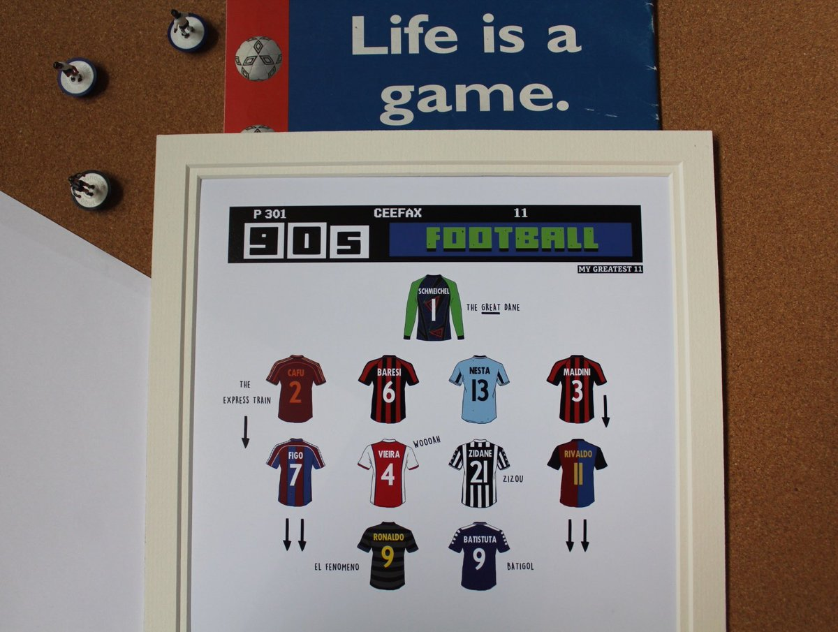 Competition Time.   Win a Print of The Greatest 90s 11.  Just RT and Follow Me and @90sfootball to Enter.<br>http://pic.twitter.com/9JixXwQOx2