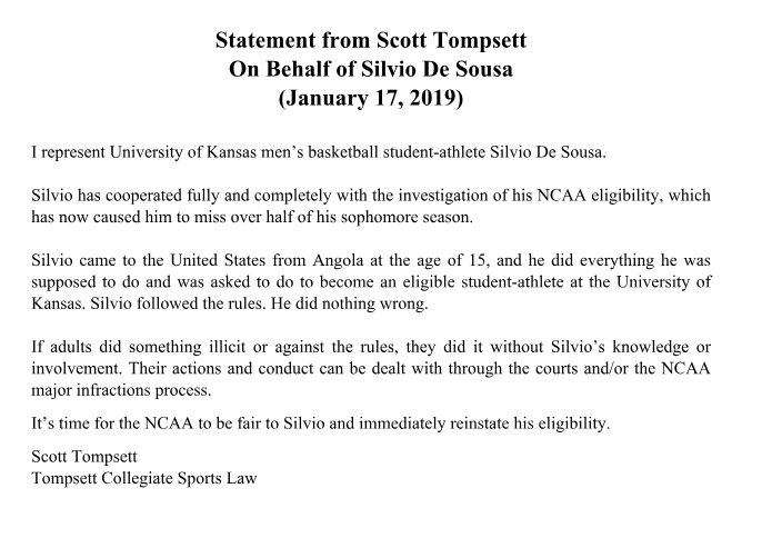 Silvio De Sousa's Attorney Releases Statement Aimed At NCAA