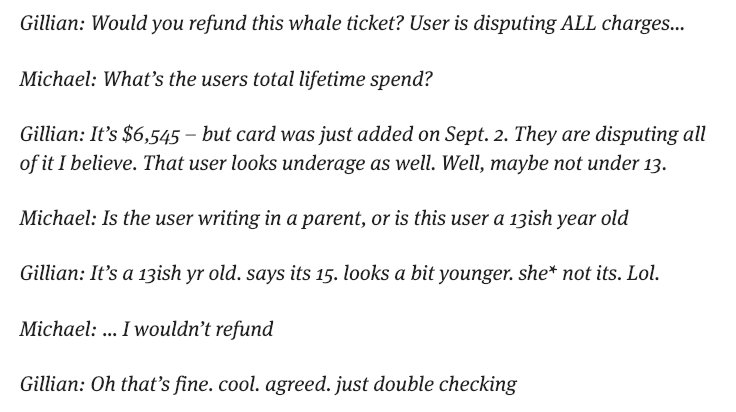 """SCOOP:  &quot;In one of the unsealed documents, two @Facebook employees deny a refund request from a child, who they refer to as a """"whale"""" – a term coined by the casino industry to describe profligate spenders.&quot;  https://www. revealnews.org/blog/a-judge-u nsealed-a-trove-of-internal-facebook-documents-following-our-legal-action/?utm_source=Reveal&amp;utm_medium=social_media&amp;utm_campaign=twitter &nbsp; … <br>http://pic.twitter.com/0j8rq7fZIJ"""