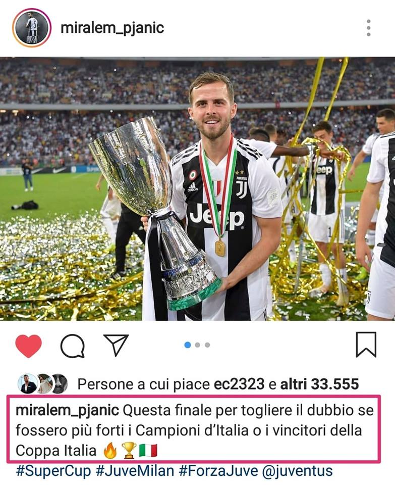 """🇮🇹 #PJANIC su """"#Instagram"""": """"Tolto il dubbio se sono più forti i #campionidItalia o #vincitori della #CoppaItalia"""" ➡️ http://bit.ly/2RV5oYm  🇬🇧 #MiralemPjanic takes swipe at #Milan ➡️ http://bit.ly/2FDmB1I  #JuveMilan #SupercoppaItaliana  #JuveSupercampioneDItalia #Juventus"""