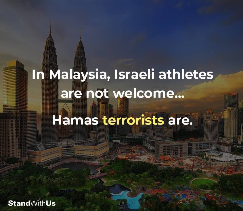 #Malaysia  : where Israeli @Paralympic  athletes aren't welcome...but Hamas  terrorists  are. <br>http://pic.twitter.com/DxUHO1fQHz