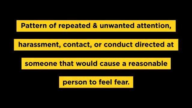 Image for the Tweet beginning: Stalking is serious, often violent,