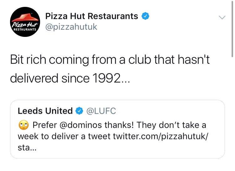 Pizza Hut just ended Leeds United. 😂