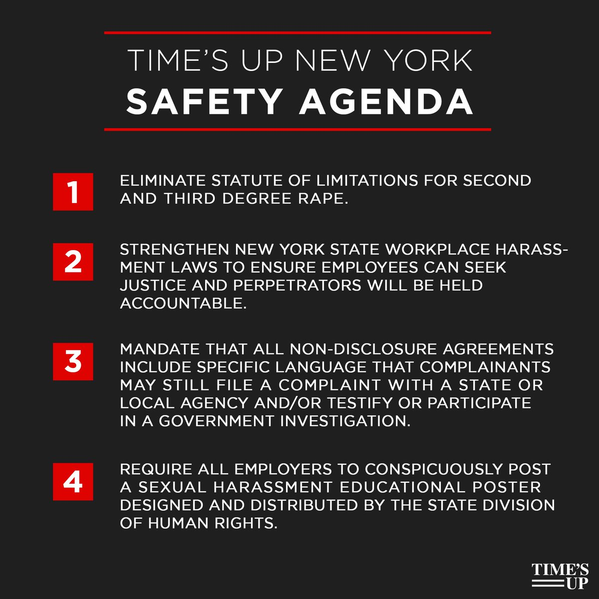 🚨Today @timesupnw joined  @NYGovCuomoin announcing the  #TIMESUPNew York Safety Agenda.   Thank you, Gov. Cuomo for your leadership! And we urge NY State Legislature to pass this agenda as soon as possible.