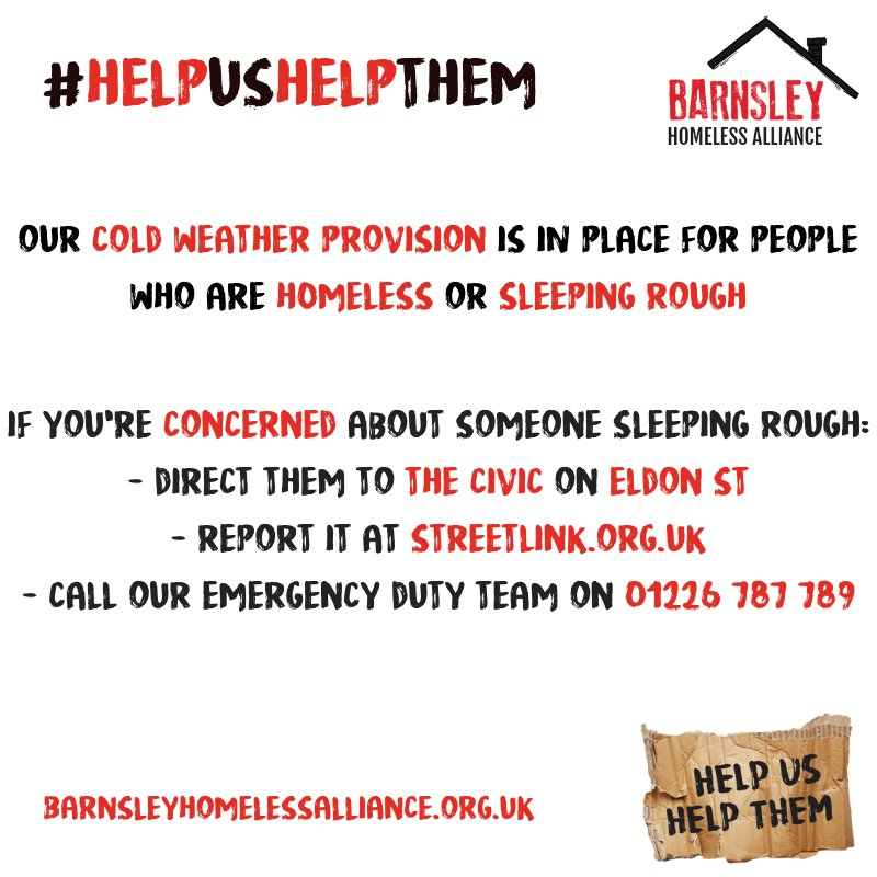 The Met Office are forecasting another night of freezing temperatures, triggering our Severe Weather Emergency Protocol (SWEP).  Therefore, our cold weather provision will be in place for those who are homeless or sleeping rough. #helpushelpthem #homelessness