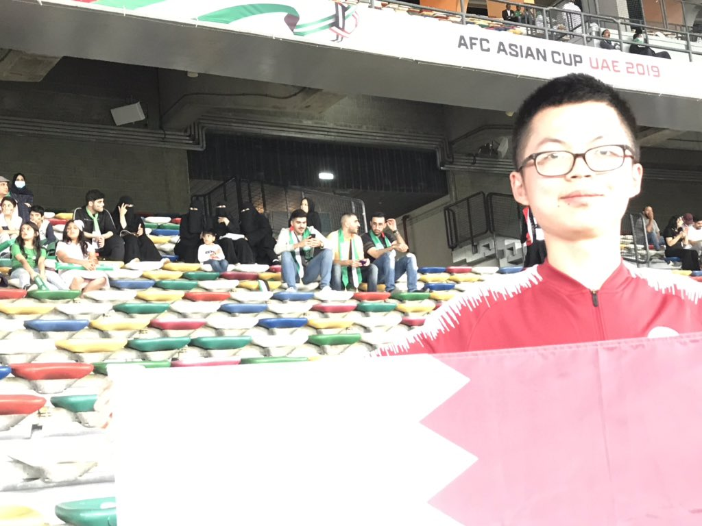 For people wondering who the second Qatari fan is at this game, it's Mr Yang from near Shanghai of course.