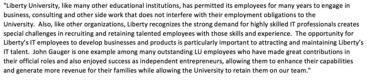 """New statement from Liberty University, where John Gauger is an employee, in light of the new WSJ Michael Cohen/poll rigging story. School says Gauger is an """"outstanding"""" employee >>"""
