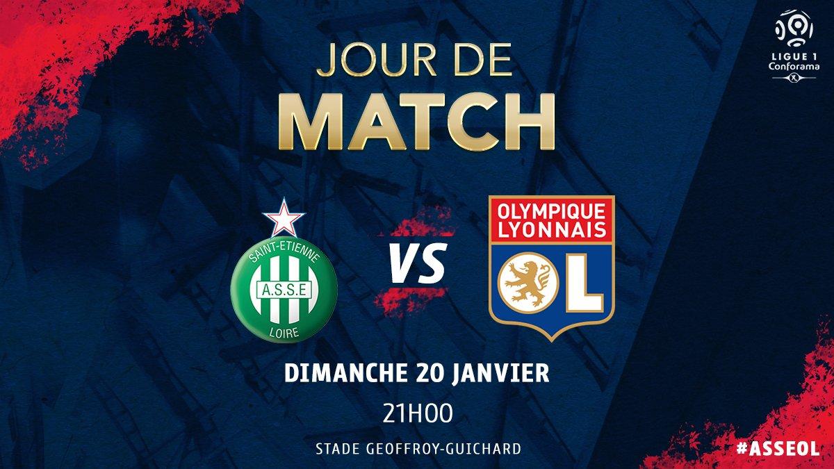 🔥 Jour de Derby 🔥   ⚽️ #ASSEOL 📅 J21 @Ligue1Conforama ⏰ 21H00  🏟 Geoffroy Guichard 📺 Canal +  📱 #TeamOL