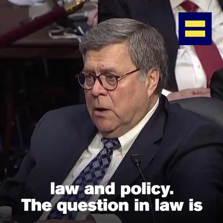 Senators @CoryBooker and @MazieHirono repeatedly questioned William Barr's deeply troubling record on LGBTQ equality.  @HRC urges the Senate to reject Barr's nomination. #StopBarr