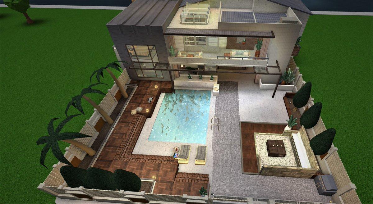DxIVZc0VsAEmIFJ Bloxburg Modern Backyards Ideas May on
