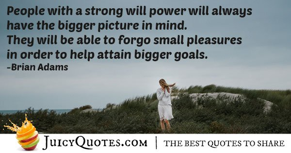 &quot;People with a strong will power will always have the bigger picture in mind. They will be able to forgo small pleasures in order to help attain bigger goals.&quot; Brian Adams  #quotesforlife #quotestoliveby<br>http://pic.twitter.com/c94HC6lkWy