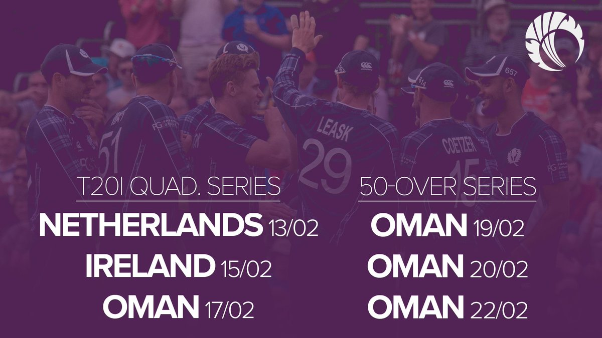 Three weeks until our 14-strong men's squad head out to Oman. 🇴🇲  Who's looking forward to some cricket? 🖐️  #FollowScotland