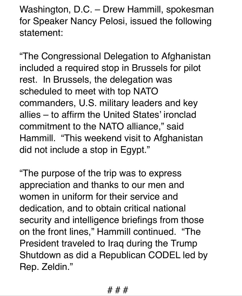 PELOSI Spox Stmt in response to President Trump cancelling military travel for her CODEL: