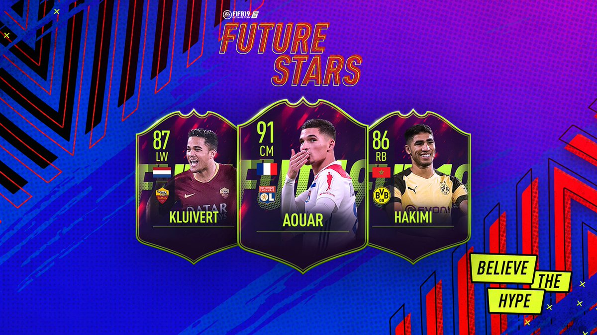 Three more FUT Future Stars revealed!  🇳🇱 Justin Kluivert (19)  @ASRomaEN  🇫🇷 @HoussemAouar (20) @OL  🇲🇦 @AchrafHakimi (20) @BVB  Full squad and ratings tomorrow. #BelieveTheHype