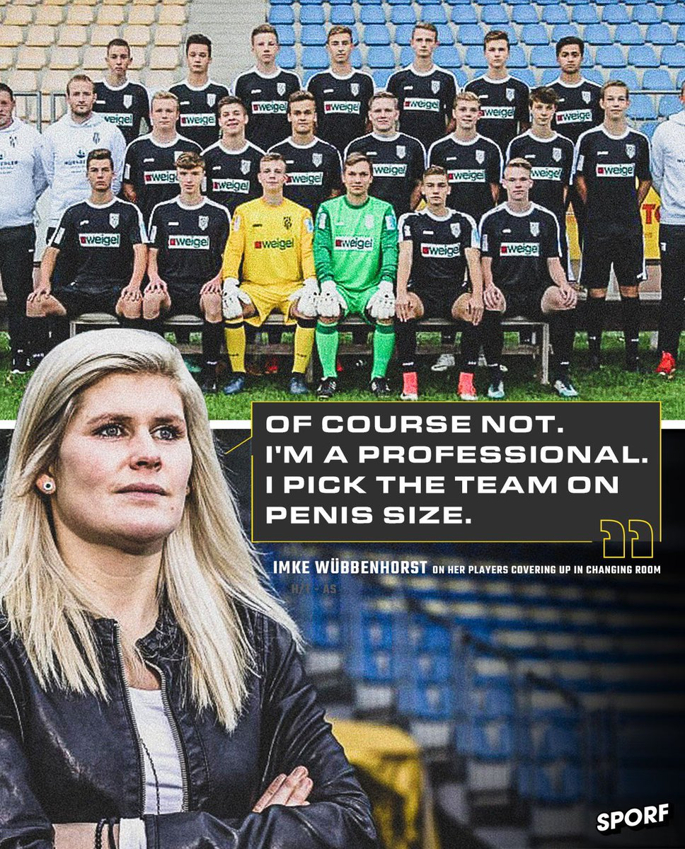 🇩🇪 Imke Wübbenhorst is the first female to coach a men's team in Germany.  🗣 A journalist asked if her players had to cover themselves up when she entered the changing room...  👌 ...and she shut him down with the perfect response.