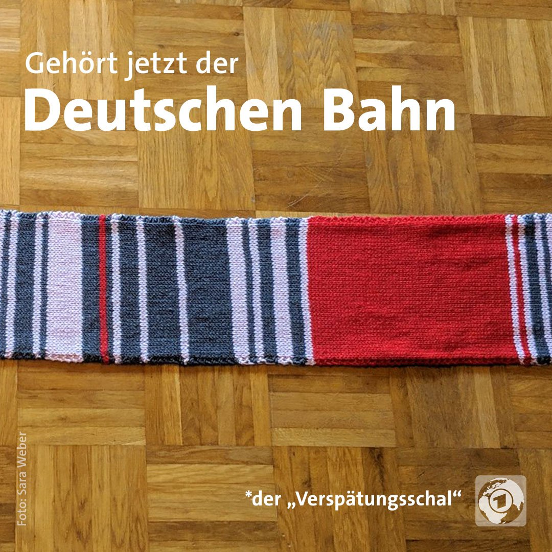 Für 7550 Euro hat die Bahn den Schal ersteigert. Gestrickt hatte ihn eine Pendlerin aus dem Münchener Umland. Er dokumentiert die Verspätungen auf ihrer Strecke. Das Geld soll der Bahnhofsmission gespendet werden.
