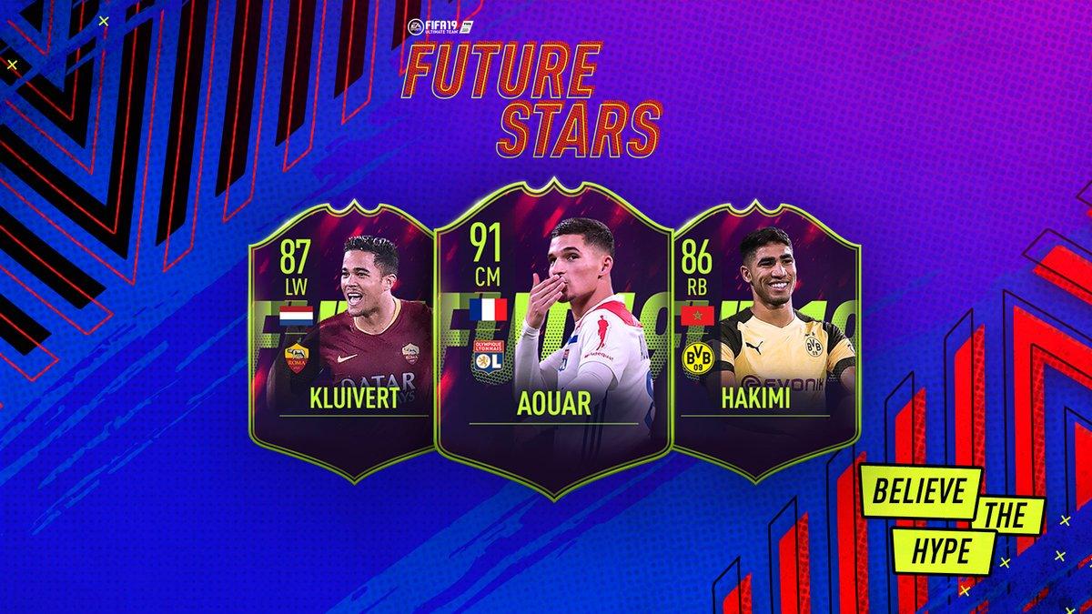 Trois nouvelles Futures Stars FUT annoncés !  🇳🇱 Justin Kluivert (19)  @ASRomaEN  🇫🇷 @HoussemAouar (20) @OL  🇲🇦 @AchrafHakimi (20) @BVB  Equipe complète et notes diffusées demain 🔥!