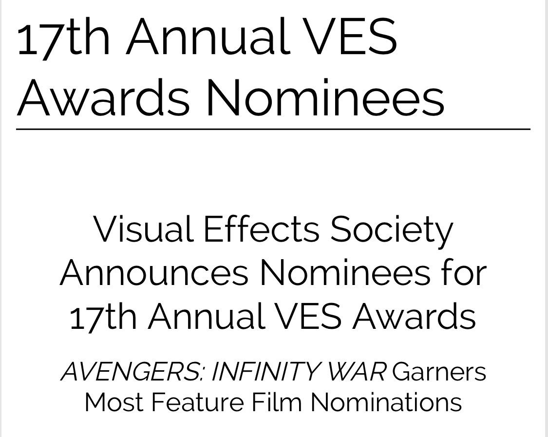 Congratulations to our insanely talented creative partners on their 6 @VFXSociety nominations for Infinity War.