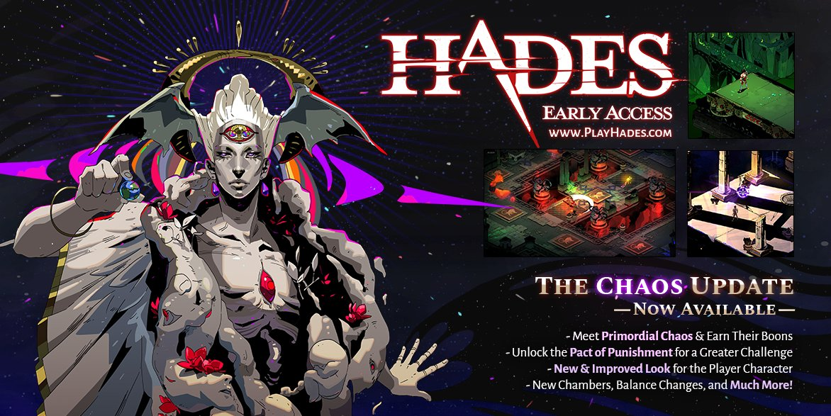 TOMORROW at 10am PST, visit our Discord (http://discord.gg/Supergiant ) for a live Q&A with our team about #HADES. Ask about the new Chaos Update, our approach to Early Access, whatever's on your mind!