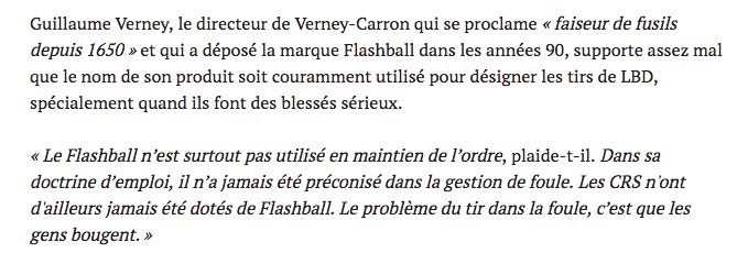 L'inventeur du flashball supporte mal que le nom de son arme soit utilisé pour parler des LBD, qui font tant de blessés en ce moment. https://t.co/rZU3FOybTj via @TPrvost