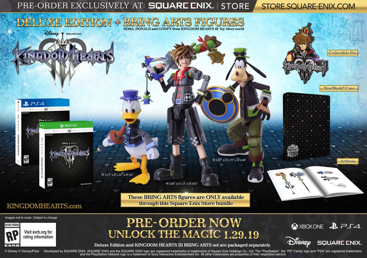 Limited quantities of the @KINGDOMHEARTS III Deluxe Edition + Bring Arts Bundle are available on the official @SquareEnix Store! The Kingdom Hearts Toy Story version Bring Arts are exclusive to this bundle!   PS4:  https:// bit.ly/2TWIlts  &nbsp;   XBOX ONE:  https:// bit.ly/2FuK2uU  &nbsp;  <br>http://pic.twitter.com/npuG0smwDv