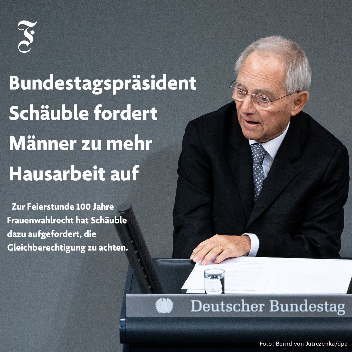Seit 100 Jahren dürfen Frauen in #Deutschland wählen. Wolfgang #Schäuble mahnt, dass viele unbezahlte Tätigkeiten auch heute noch an ihnen hängenbleiben. #100JahreFrauenwahlrecht  https://t.co/TraGdpUe2w