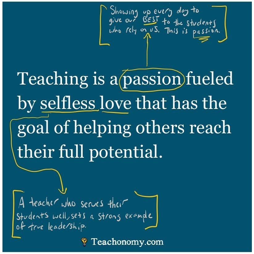A teacher is someone who shows up everyday and gives the BEST of themselves to students who rely on them.   They serve their students through selfless love, and in turn, set the example of true leadership.   Keep up the good work. Your impact will last a lifetime! #WeTeachuN<br>http://pic.twitter.com/MDukkeWq01
