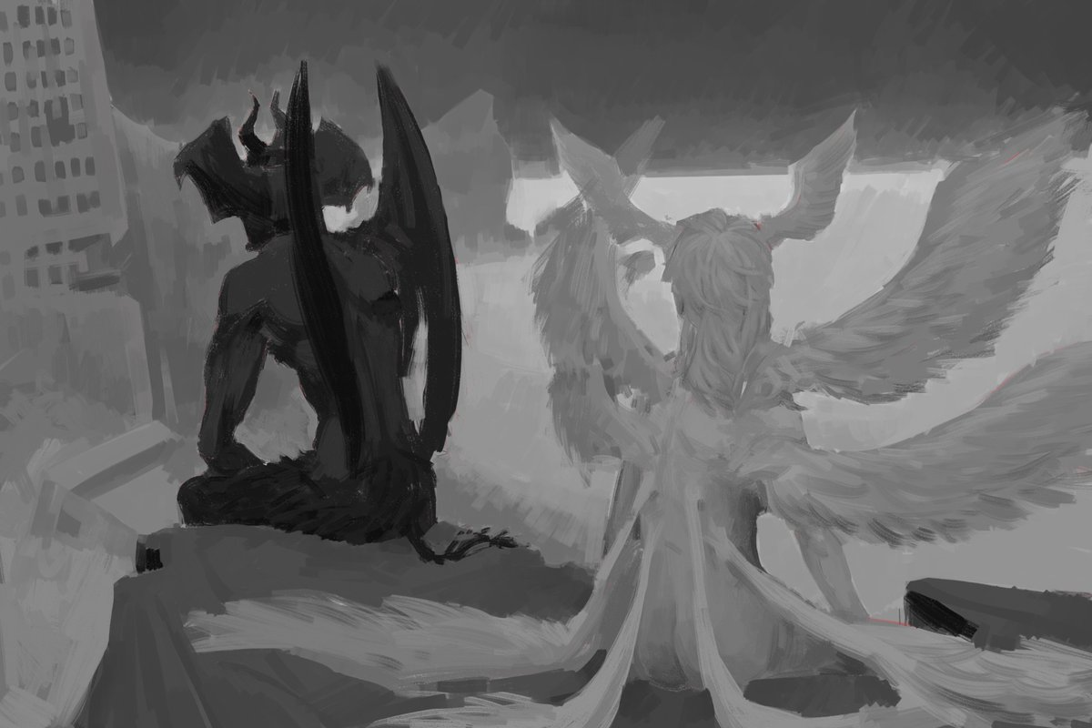 an unfinished image.. it was planned to be two prints that when put together, would have a fuller illustration. devilman staring over the ruins of what he fought for, and satan+the destruction he wanted, but hes glancing just slightly back at akira!  #devilman<br>http://pic.twitter.com/bGwI9fi5m7