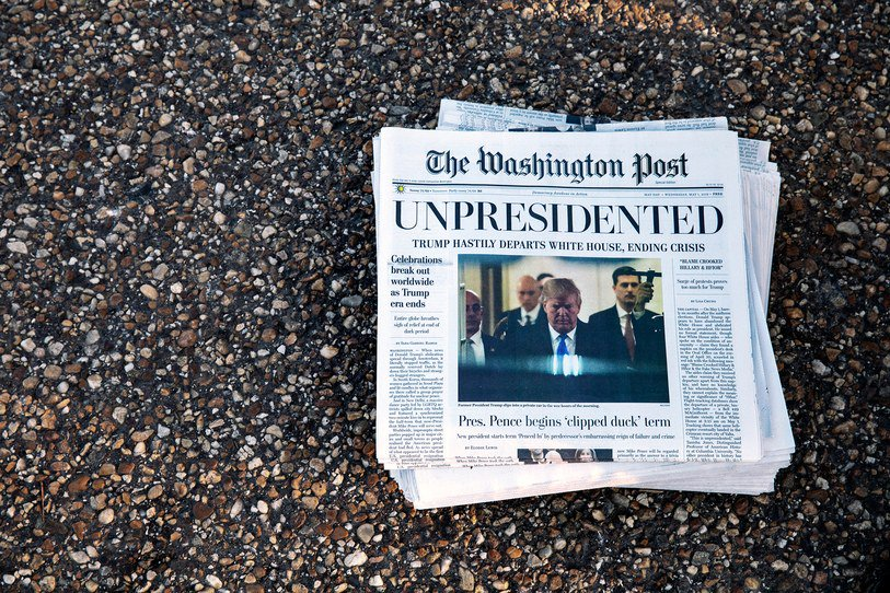 The mock edition of the Washington Post handed out to D.C. commuters on Wednesday made readers feel like a future free of the Trump Presidency could be achieved: https://t.co/Spf894J7n7