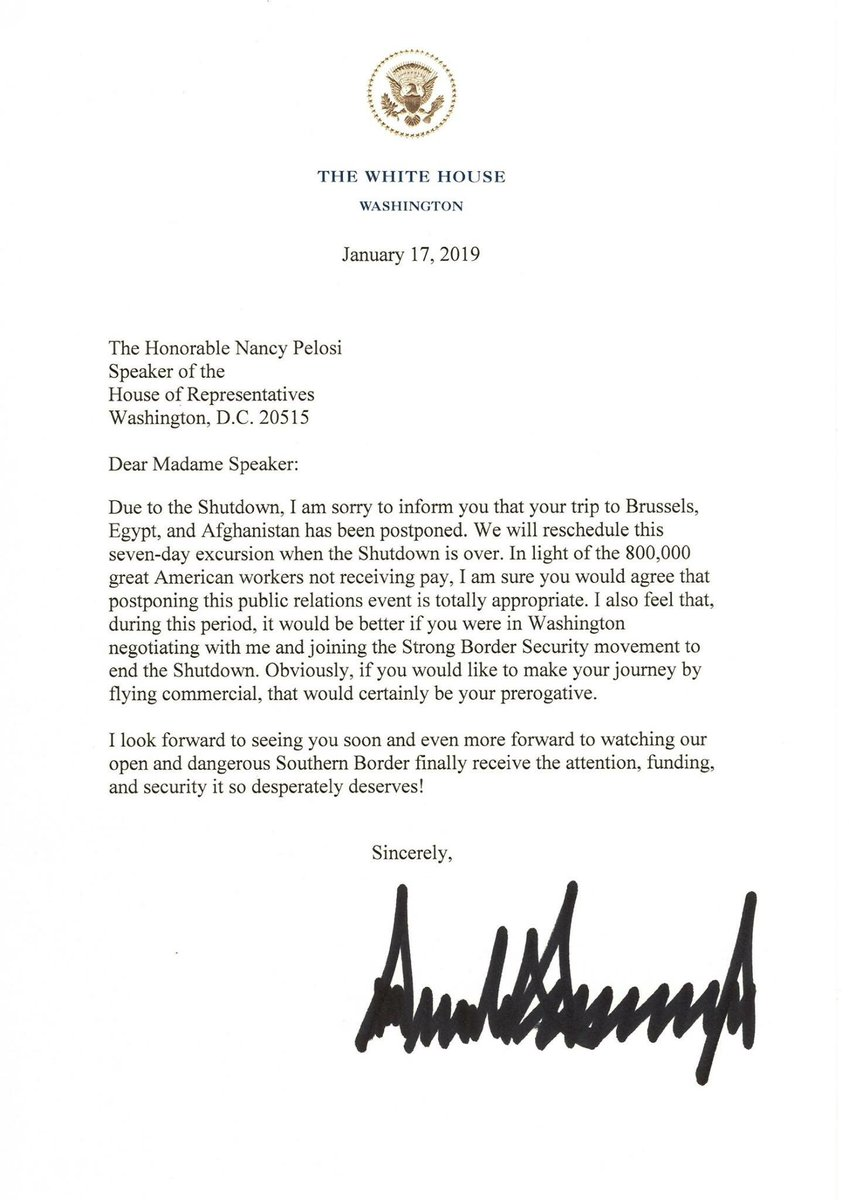 RT @ScottPresler: President Trump is a genius.   Nancy Pelosi's trip has been cancelled. https://t.co/nUbyeKjBNN