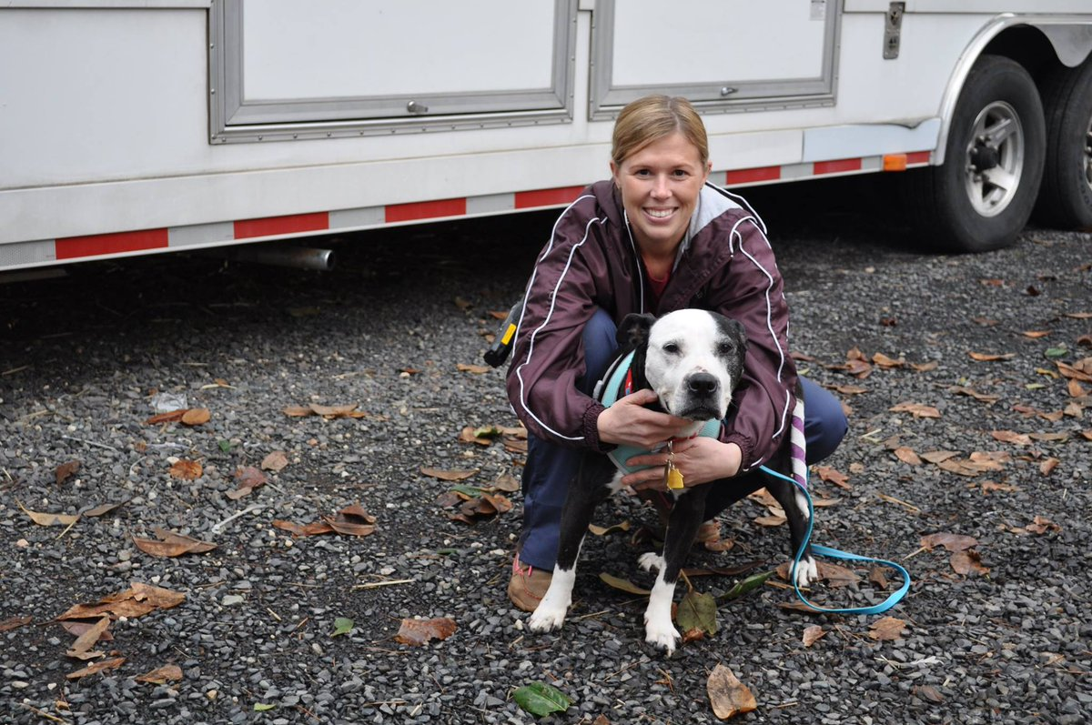 an aggie vet holding a dog