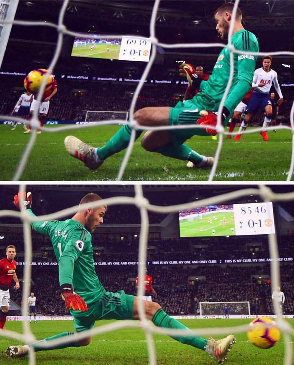 The rate at which he uses his feet to make saves, I am worried that soon, when he saves with his hand, the referee may award a penalty against United!!   #DeGea #MUFC #Davesaves #TOTMUN