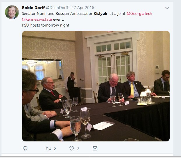 Former Russian ambassador Kislyak attended a meeting with members of Georgia Tech and Kennesaw University (which housed the election center) on 4/27/16, the same day as the infamous Mayflower Hotel event that @SethAbramson and others have written about so much. 1/ <br>http://pic.twitter.com/VhSV3VTc0c