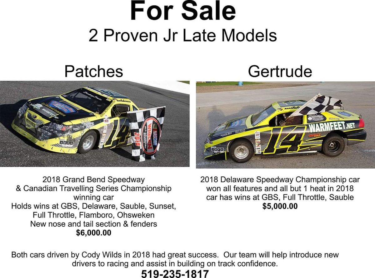 Jr late model for sale