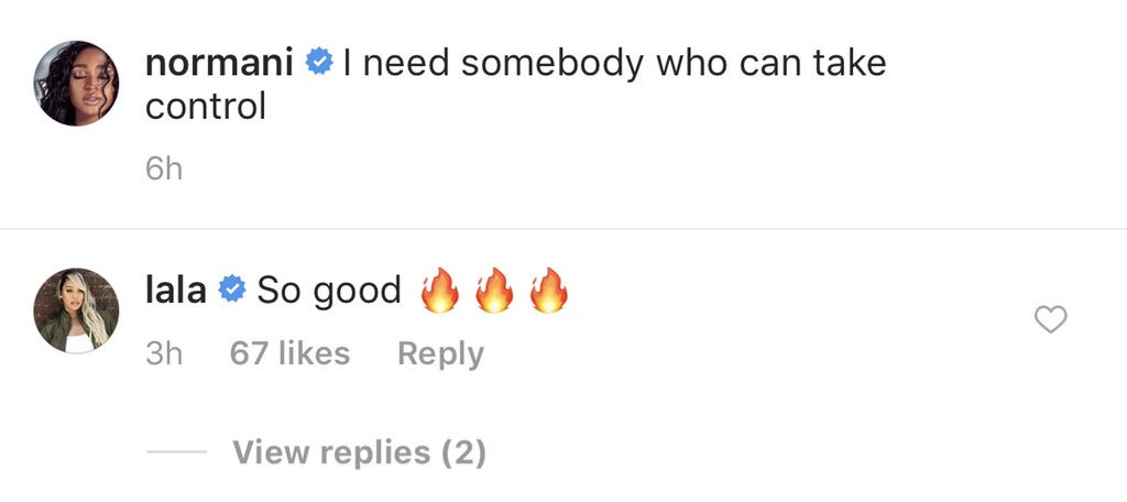.@lala and Ruby Rose commented on Normani's Instagram post <br>http://pic.twitter.com/vNVRcNinII