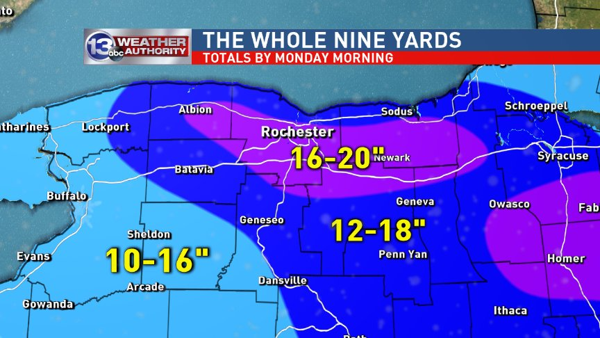 Thanks for your patience.  Here&#39;s what I feel best represents the totals you can expect by Monday AM.  Add wind chill of -20 to -30 + blowing snow.  TOUGH travel Saturday night into Sunday!  Be smart out there! #roc<br>http://pic.twitter.com/xPwERCogne