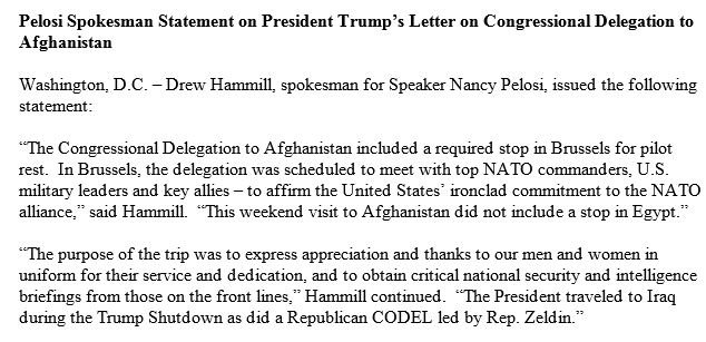 Speaker Pelosi spokesperson statement on President Trump postponing her foreign trip via military aircrafthttps://t.co/KEhCeOMBZt:
