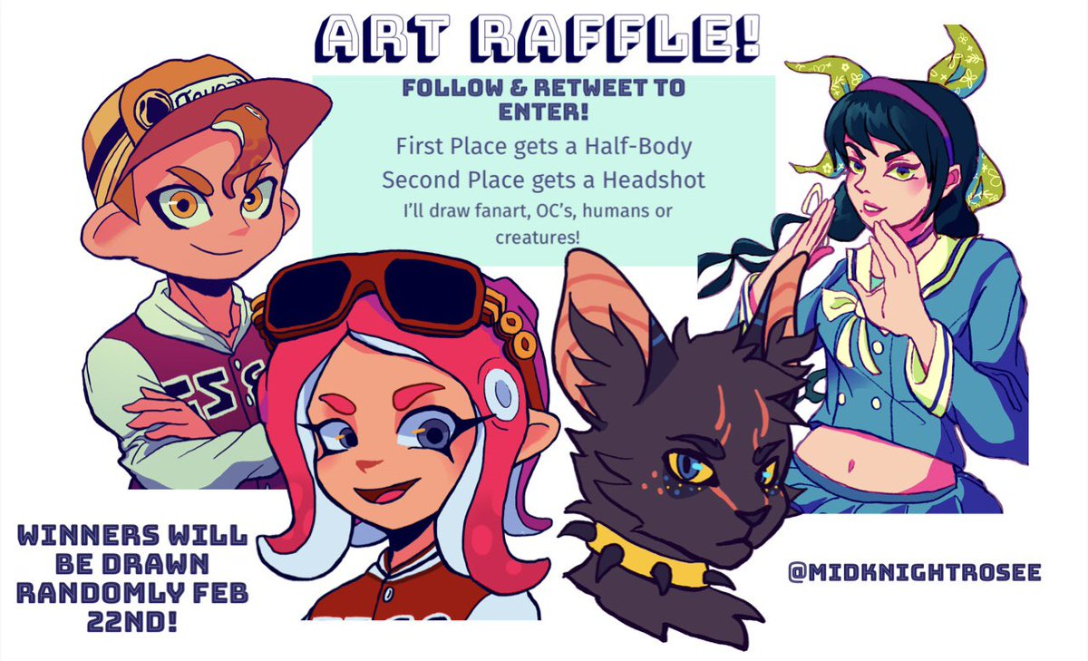 Art Giveaway  As a thank you for 200+ followers i'm doing an art raffle!  Follow &amp; Retweet to Enter  2 randomly chosen people will get a drawing of their own choice of character   Winners will be announced February the 22nd! <br>http://pic.twitter.com/E4FFaETsCO