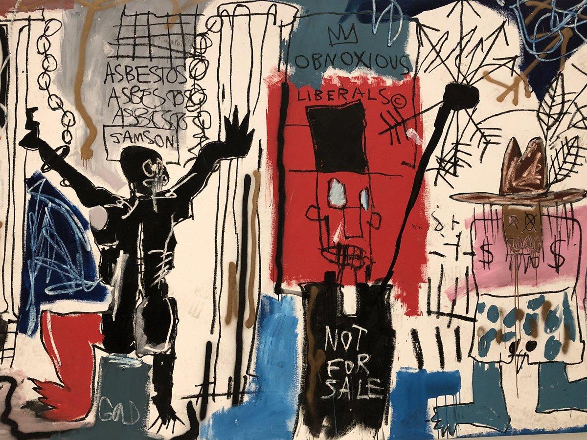 L'expo #JeanMichelBastiat à la fondation #LouisVuitton est une des plus belles que j'ai vue ces dernières années. ce sont les derniers jours. Allez y si vous le pouvez. Un artiste engagé dont les œuvres sont riches de messages. Un tableau sur le #capitalisme