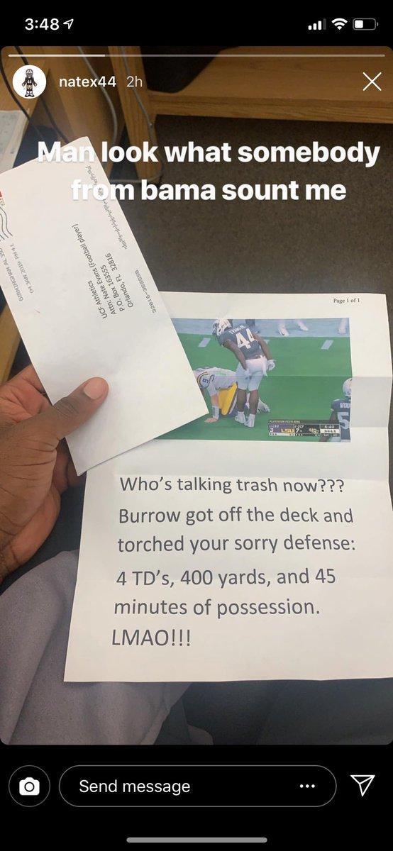 Alabama Fan Sends Harsh Letter To UCF Player