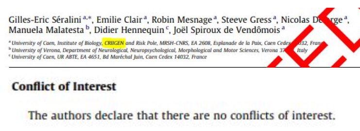 Et pas UN mot du conflit d'intérêt évident de Séralini : son étude était financée par Auchan et Carrefour, sous la casquette du CRIIGEN de Corine Lepage, un lobby anti-OGM ! Ce qu'il s'est gardé de déclarer...
