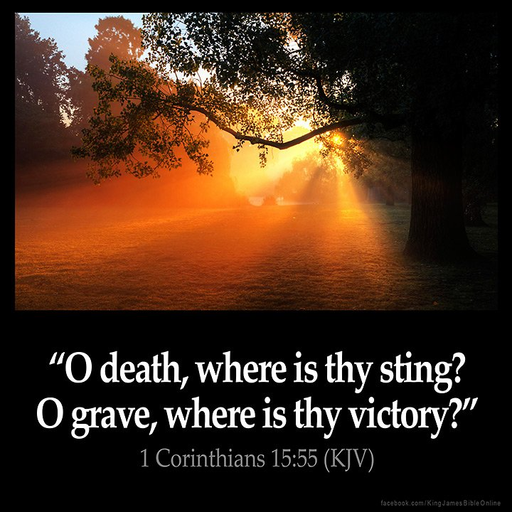 1 Corinthians 15:55-57 (KJV) O death, where is thy sting? O grave, where is thy victory?  The sting of death is sin; and the strength of sin is the law.   But thanks be to God, which giveth us the victory through our Lord Jesus Christ. <br>http://pic.twitter.com/ZLSmGHS0AZ
