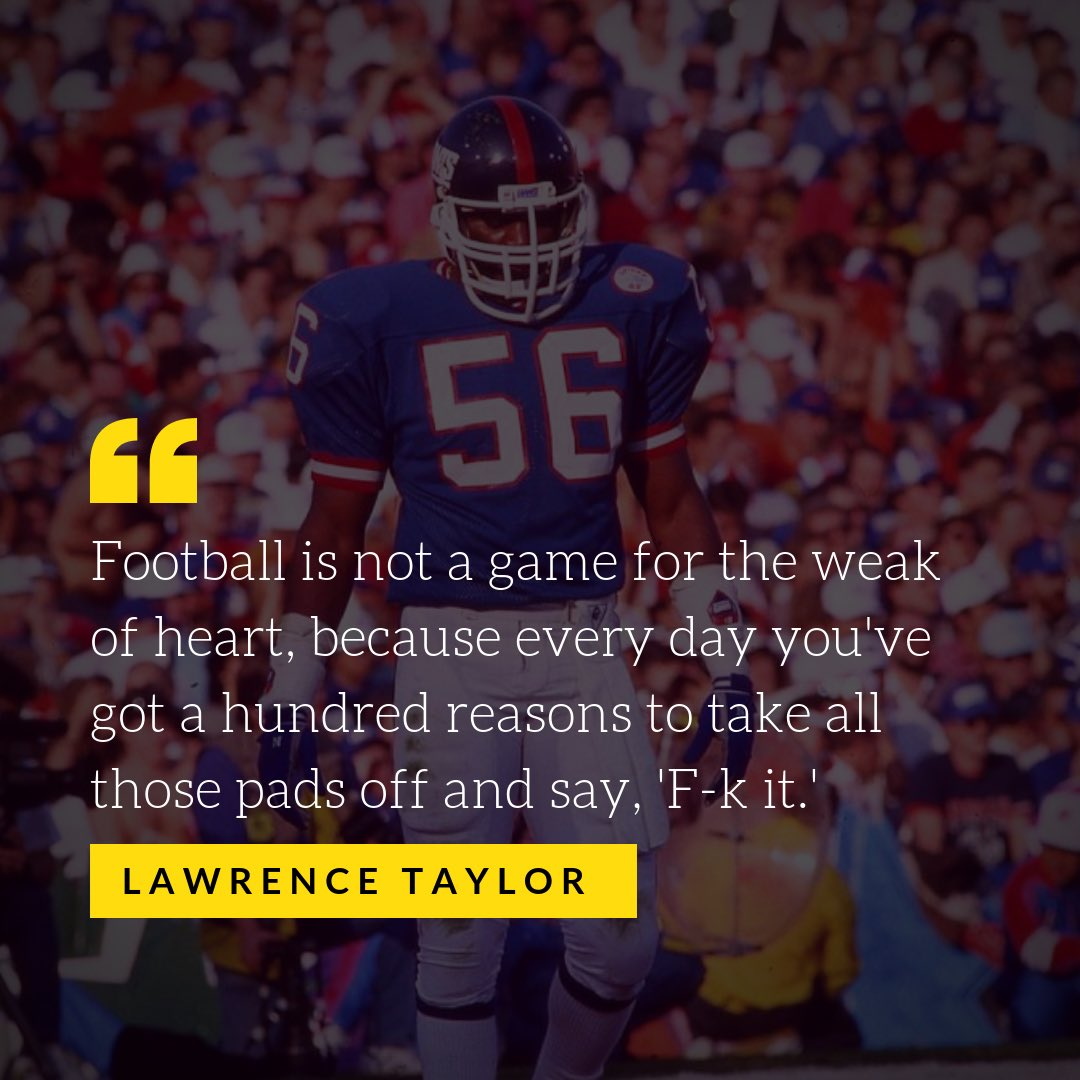 """If you've never played the game at this level, you will never understand how challenging it can be. A special thanks to the fans in the stands for cheering me on when I could've just said, """"F—it!"""" #nygiants #lawrencetaylor56 #lawrencetaylor #nfl #nflplayoffs #halloffamer<br>http://pic.twitter.com/F7wH9rNIH3"""