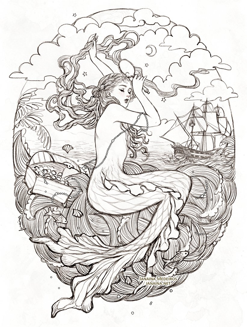 Mermaid  Drawing made for The Enchanted Forest Fantasy Artbook. Preorder:  https:// blackfoxpress.com/store/  &nbsp;  <br>http://pic.twitter.com/YD8pq6rZbV