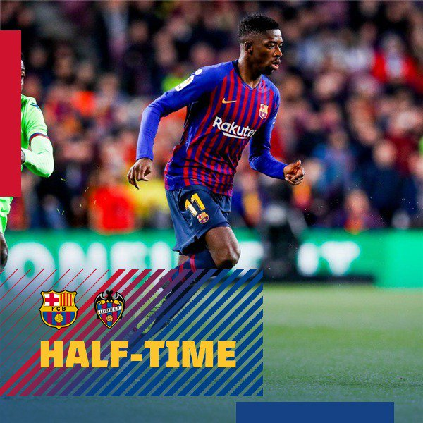 HALF-TIME: Barça storm to a two-goal lead with @Dembouz  getting both in under two minutes!  ⚽️LIVE: Barça 2 - 0 Levante (3-2 agg) Dembélé 30', 31'  🔵🔴 #ForçaBarça! #CopaBarça 🏆